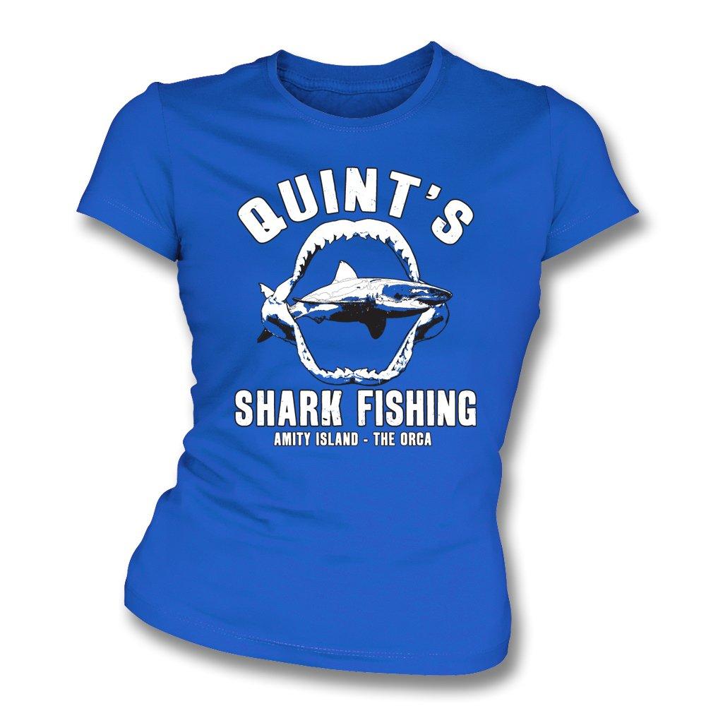 Quint 39 s shark fishing womens slim fit t shirt from for Women s fishing t shirts