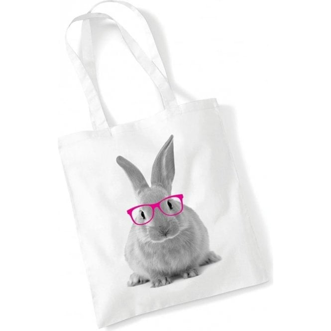 Rabbit In Glasses Long Handled Tote Bag