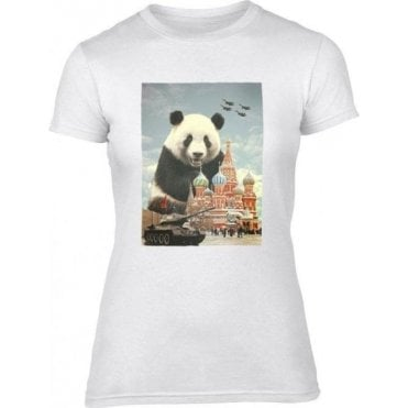 Red Square Panda Women's Slim Fit T-Shirt