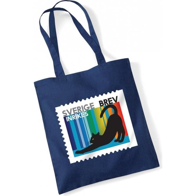 Swedish Cat Stamp Long Handled Tote Bag
