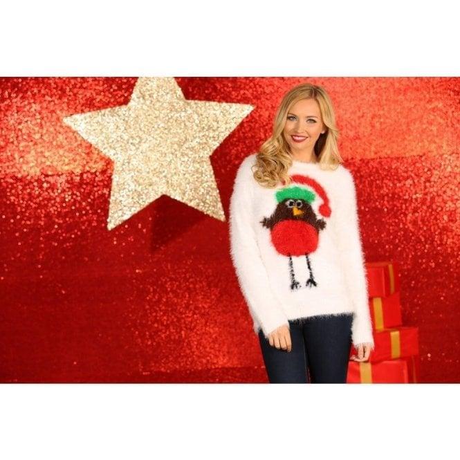 Women's Robin Eyelash Yarn Knitted Jumper