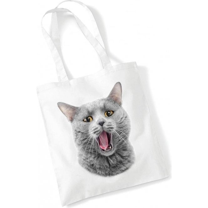 Yawning Cat Long Handled Tote Bag